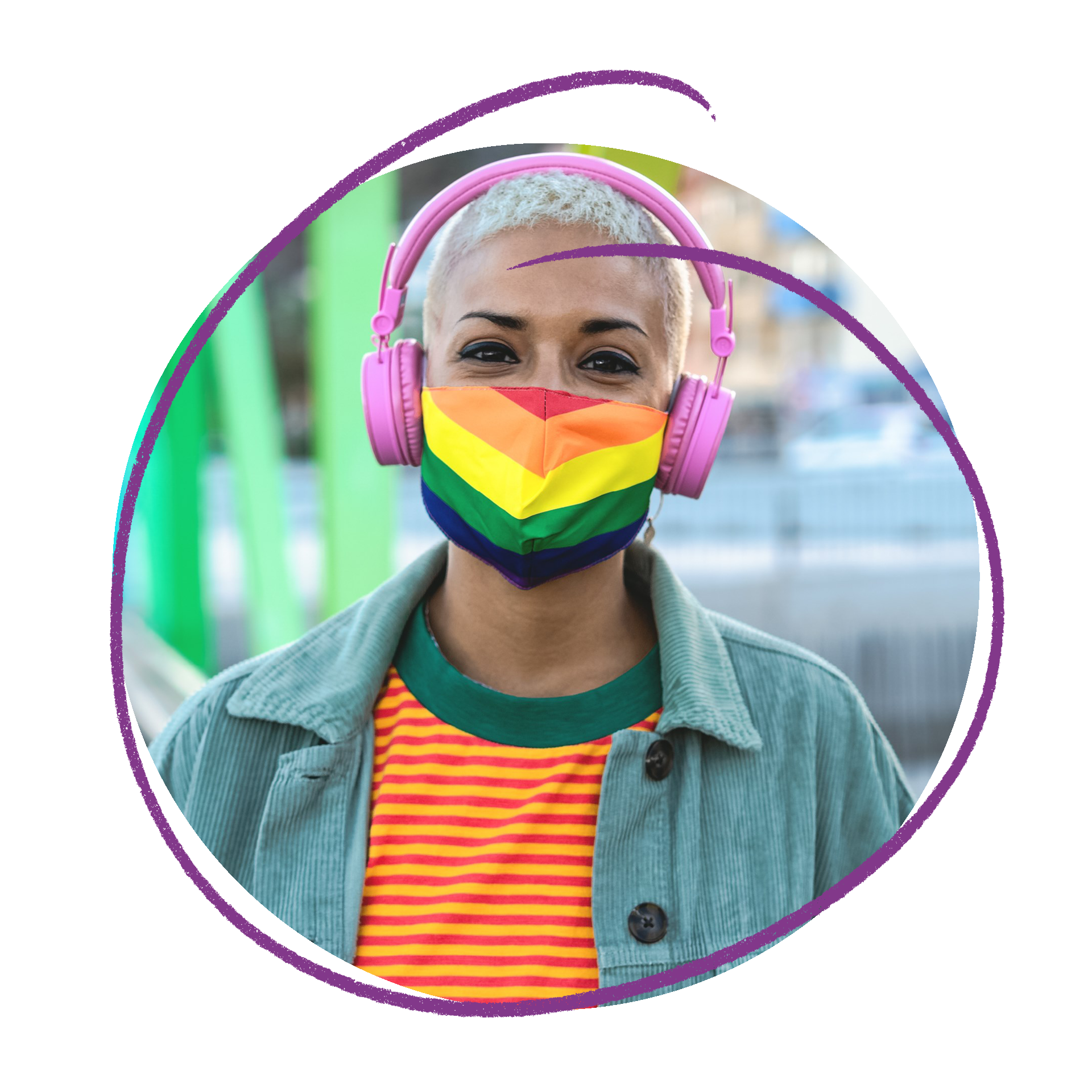 Young person with short white hair and dark eyes wearing a rainbow mask.  She is also wearing an orange and yellow stripy shirt, blue corduroy Jacket and large pink headphones.