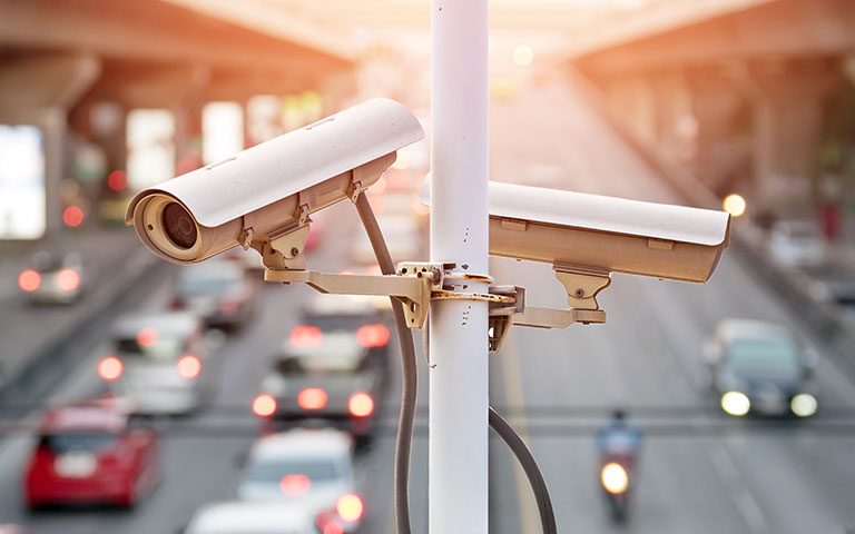 IP cameras looking at busy highway traffic