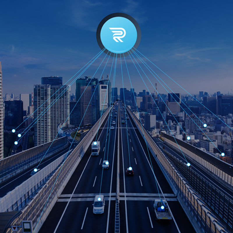 Roadway with Rekor logo hovering above