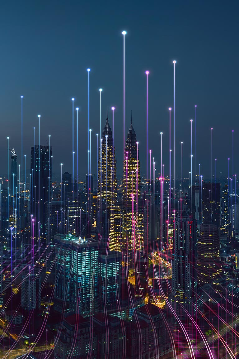 Data points connecting to smart city sky
