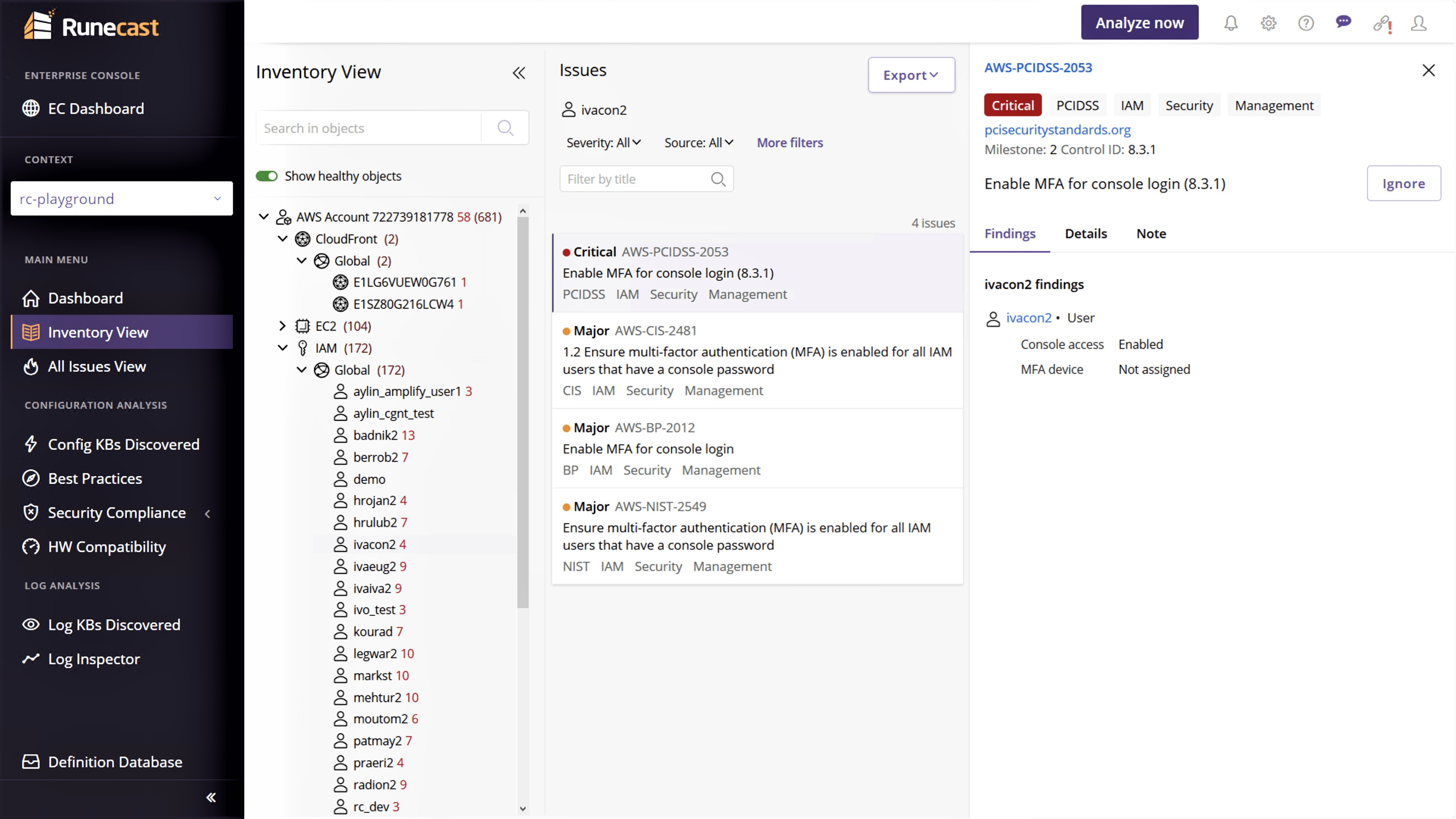 Runecast Analyzer - AWS - Inventory View