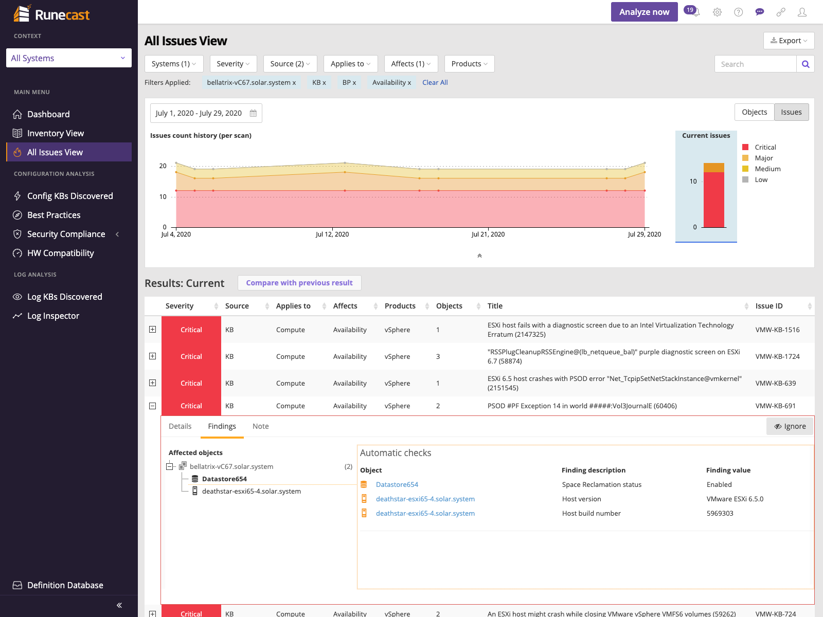 Runecast Analyzer - All issues view