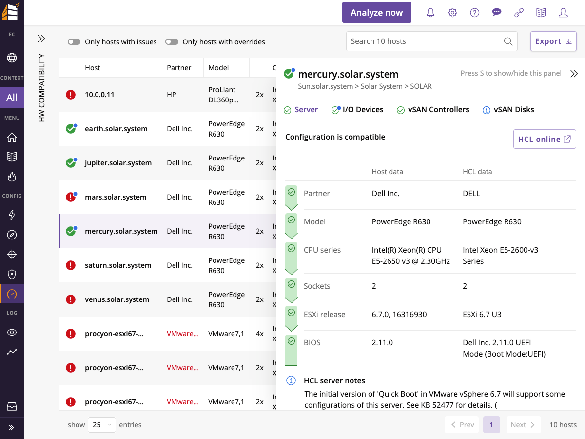 Runecast analyzer hardware compatibility host detail screenshot