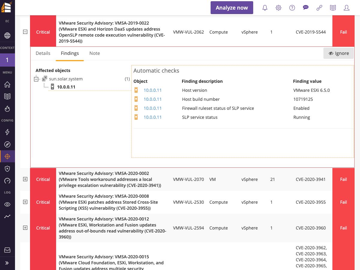 Runecast Analyzer vulnerability management dashboard screenshot