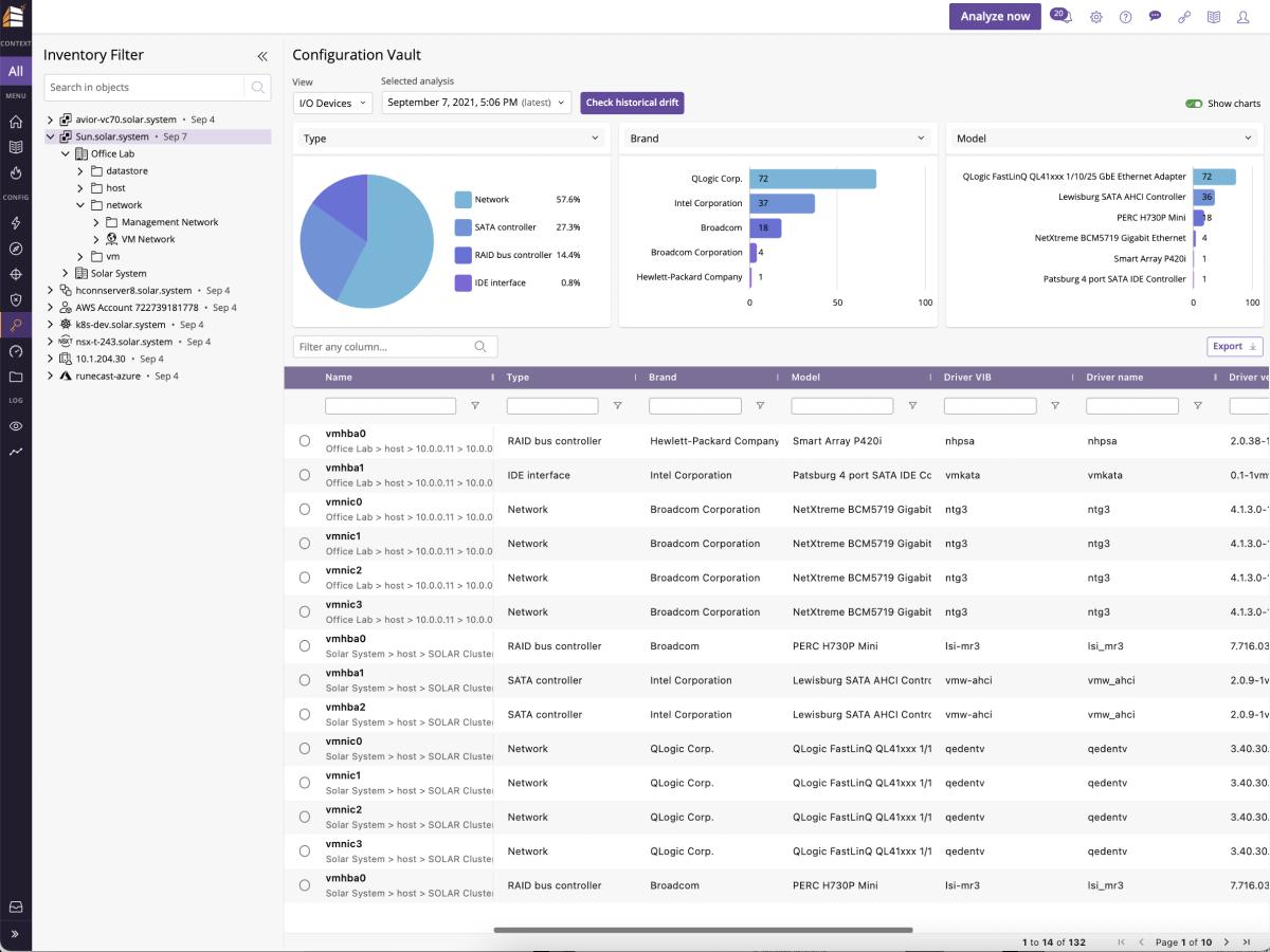 Runecast analyzer configuration vault dashboard screenshot.