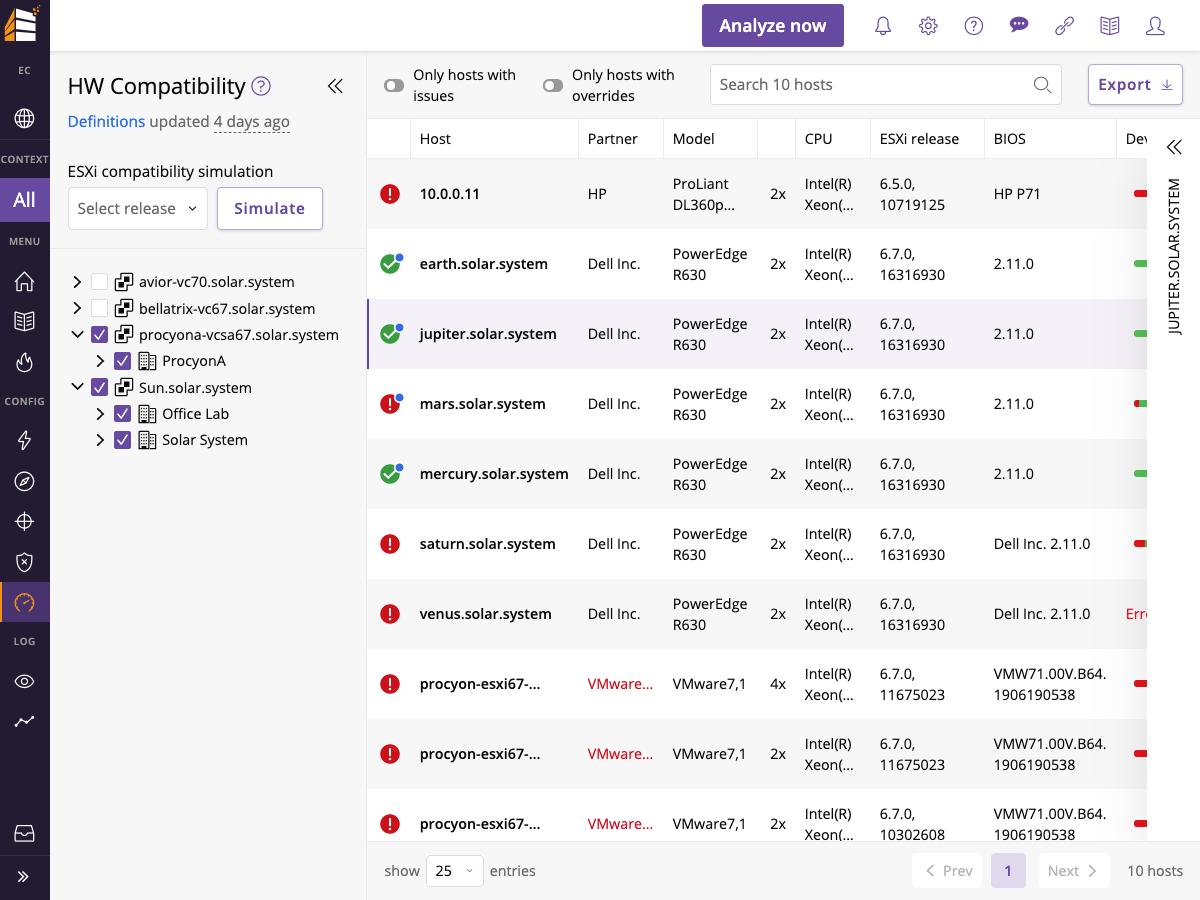 Runecast Analyzer Hardware Compatibility Dashboard Screenshot