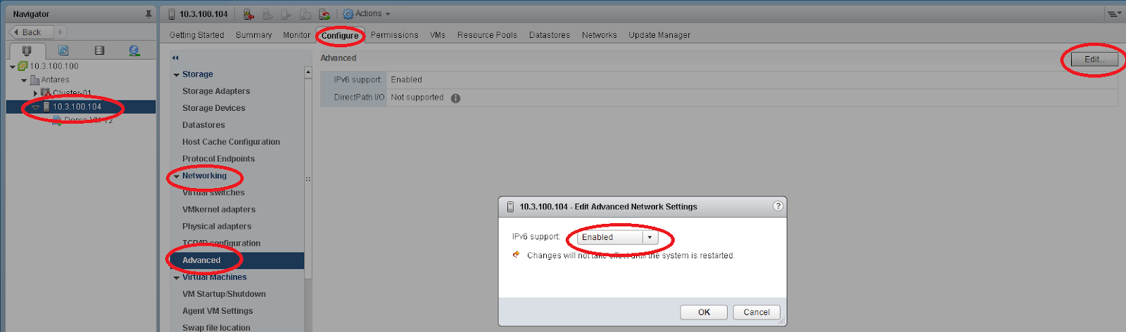 Enabling IPv6 for ESXi in vSphere Web Client (Flash)