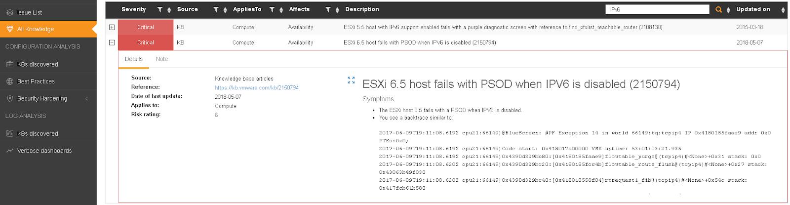 IPv6 VMware KBs in Runecast Analyzer