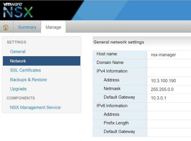 NSX network settings