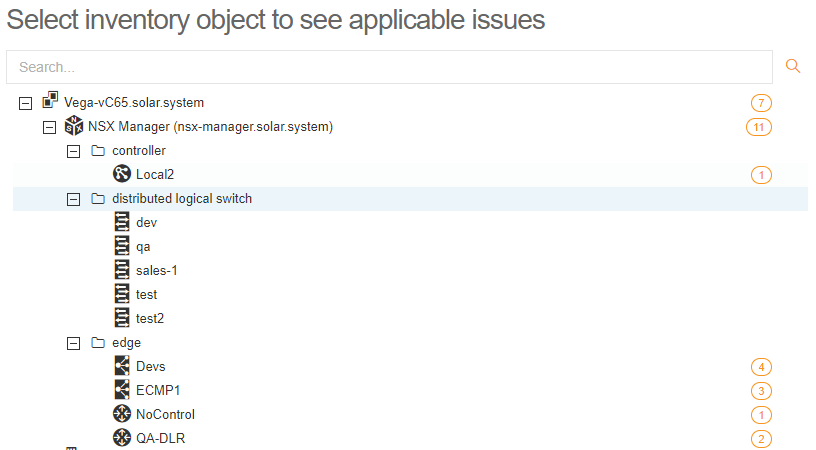 NSX-V tree structure with the number of detected issues