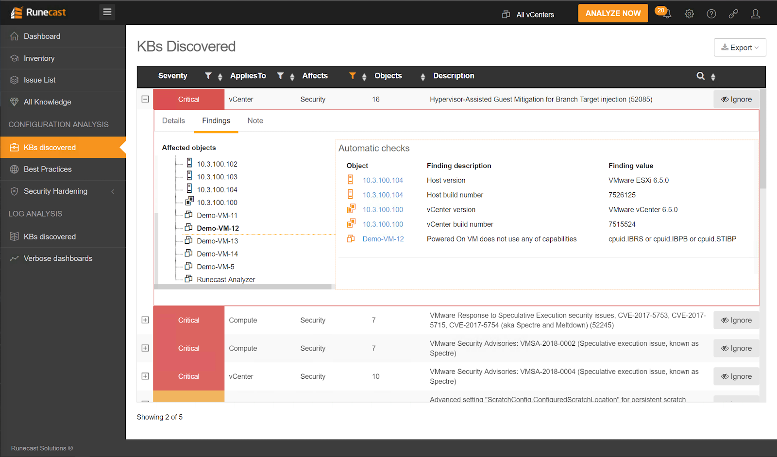 Runecast Analyzer Discovered Critical Knowledge Base Issues