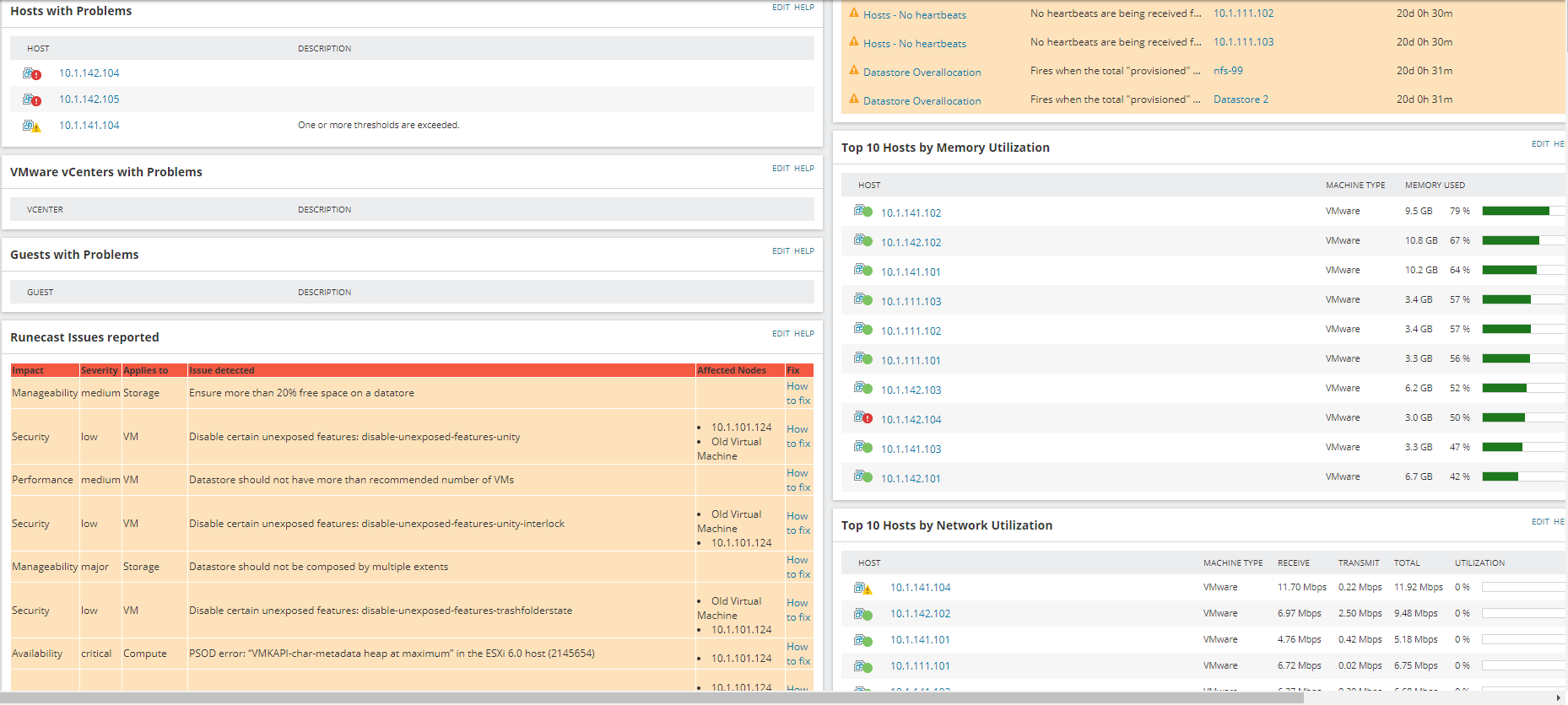 VMAN loaded up with several vCenters, ESXi hosts and VMs and Runecast Analyzer resource on the summary page