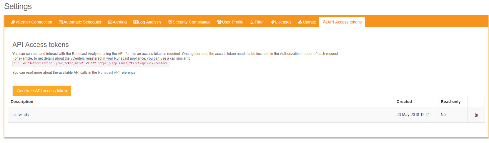 API Access tokens