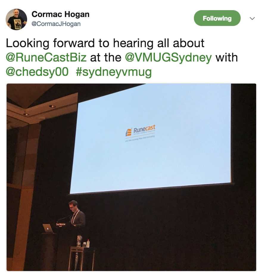Cormac Hogan at Sydney VMUG
