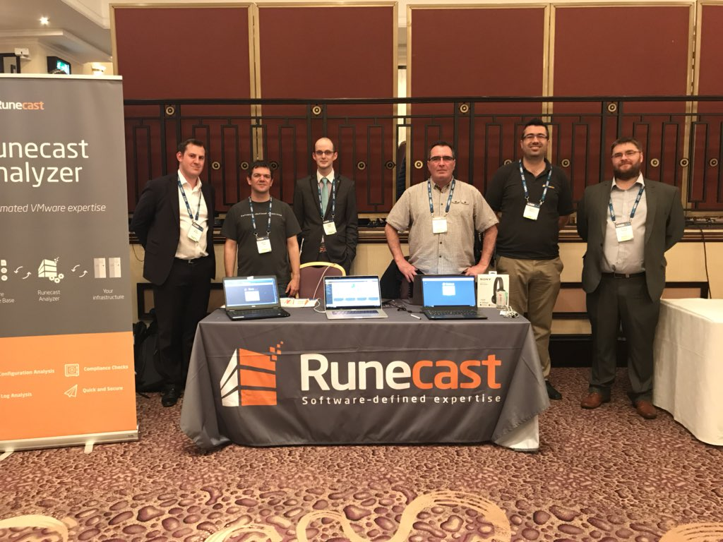 Left to right: Ryan Mangan (Systech IT Solutions), Warren Legg (Runecast), Scott Reed (Systech IT Solutions), Bryan Hutchinson (Runecast), Stanimir Markov (Runecast), Antony Sandell (ONI).