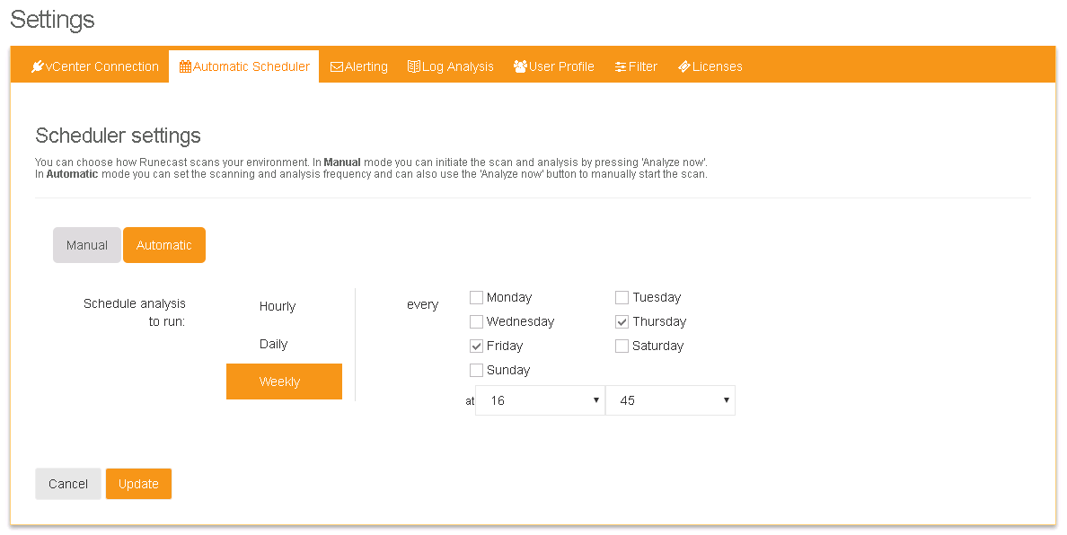 Runecast Automatic Scheduler