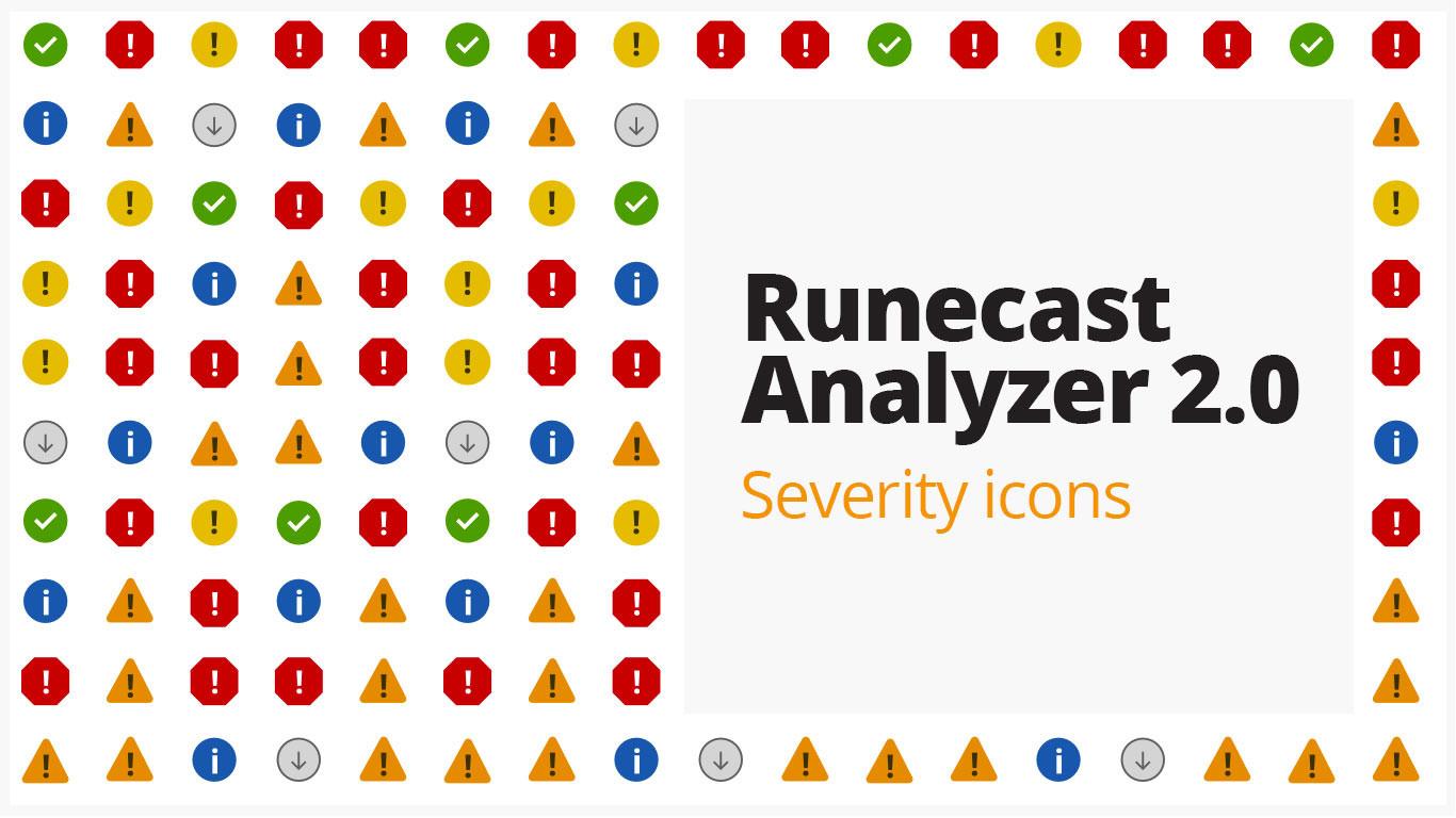 Runecast Analyzer 2.0 Severity icons