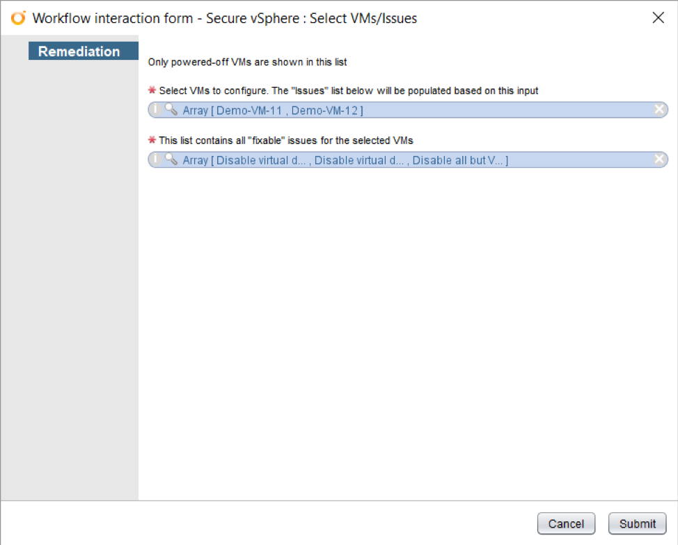 Select VMs/Issues detail