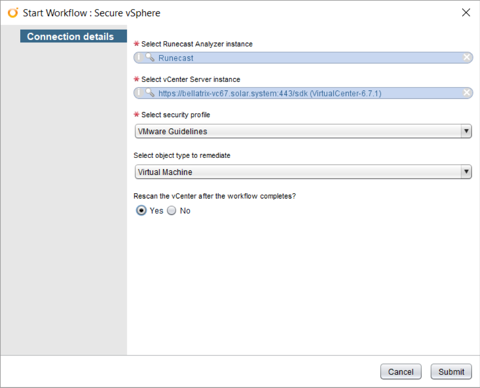 Connection detail How to secure vSphere