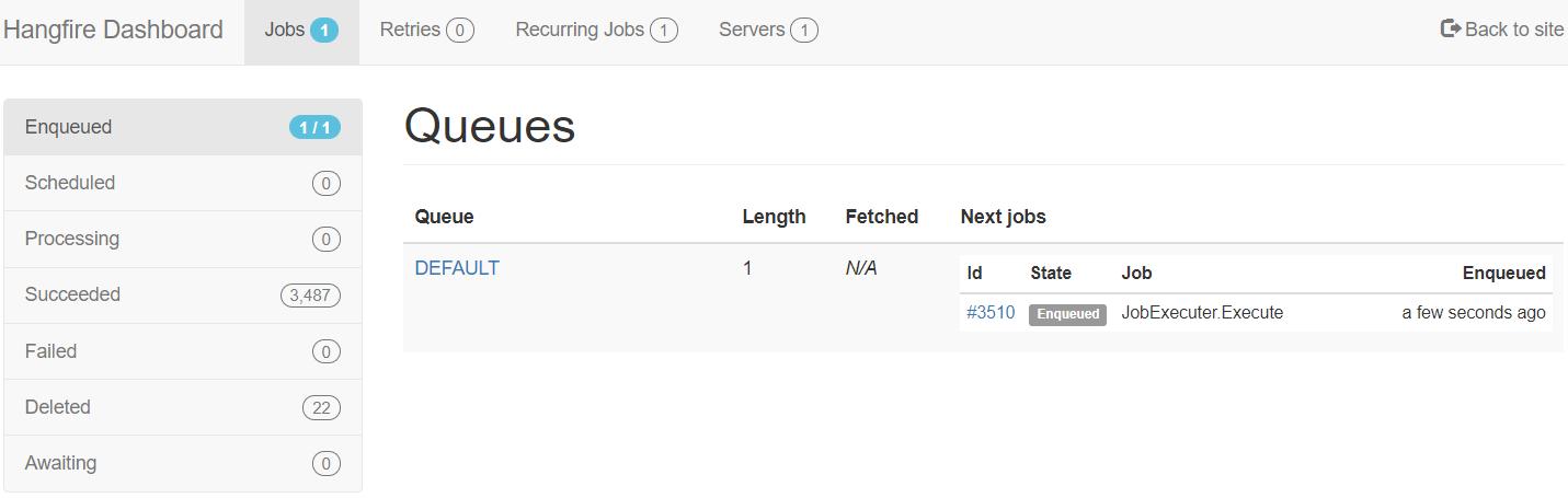 Hangfire Dashboard Jobs menu