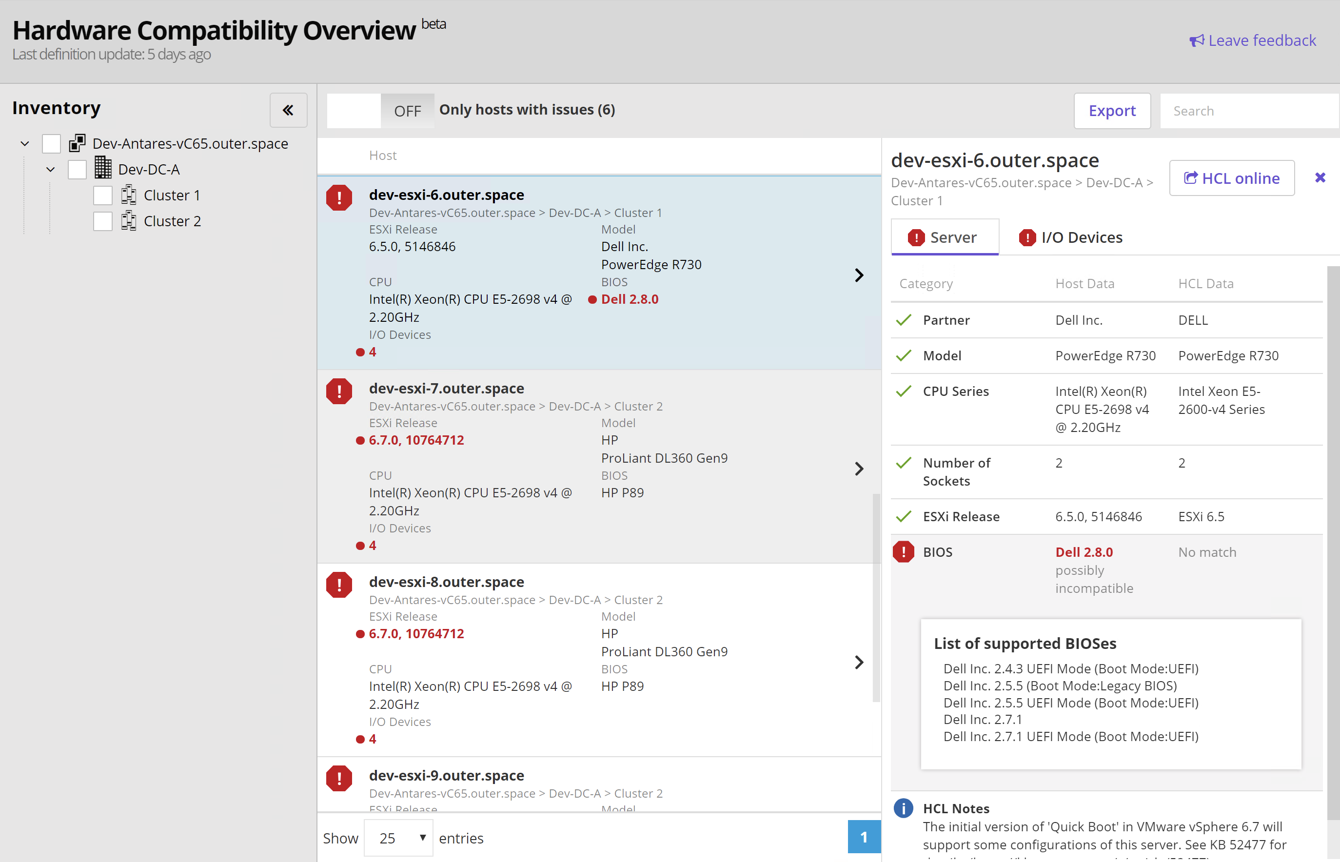 Hardware Compatibility beta Overview detailed view