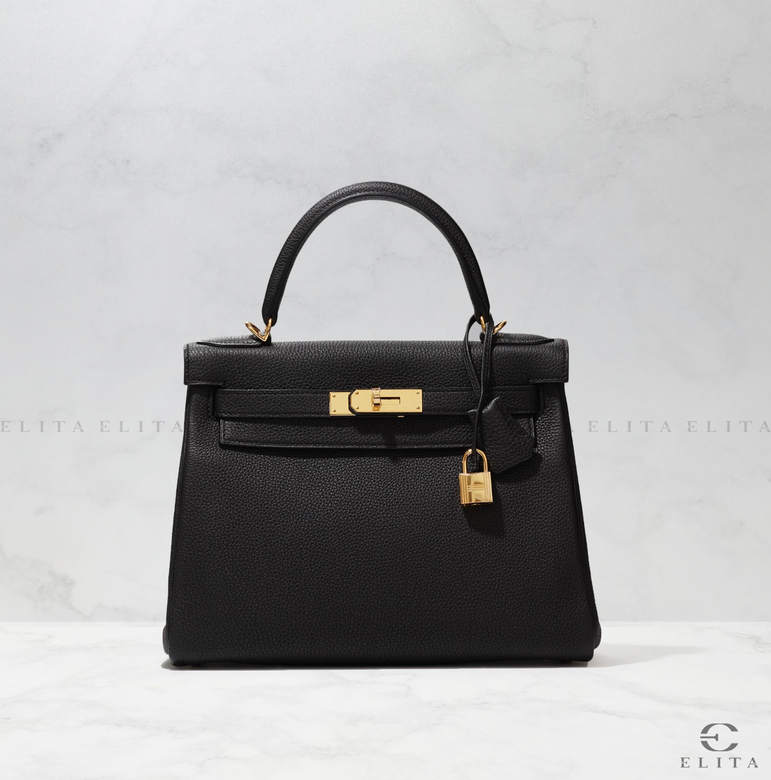 Kelly 28 Black Togo Leather