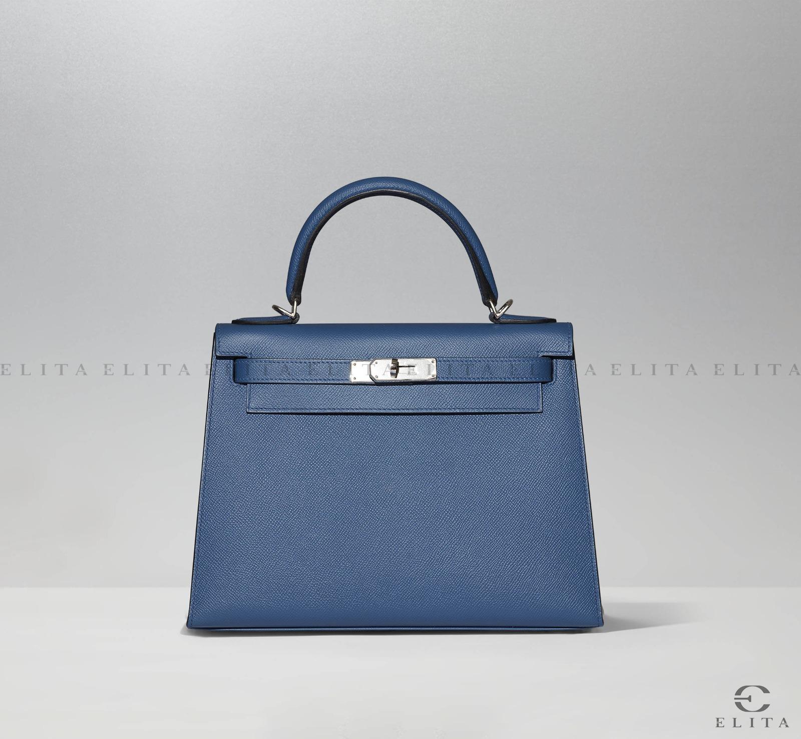 Kelly 28 Bleu Agate Epsom Leather
