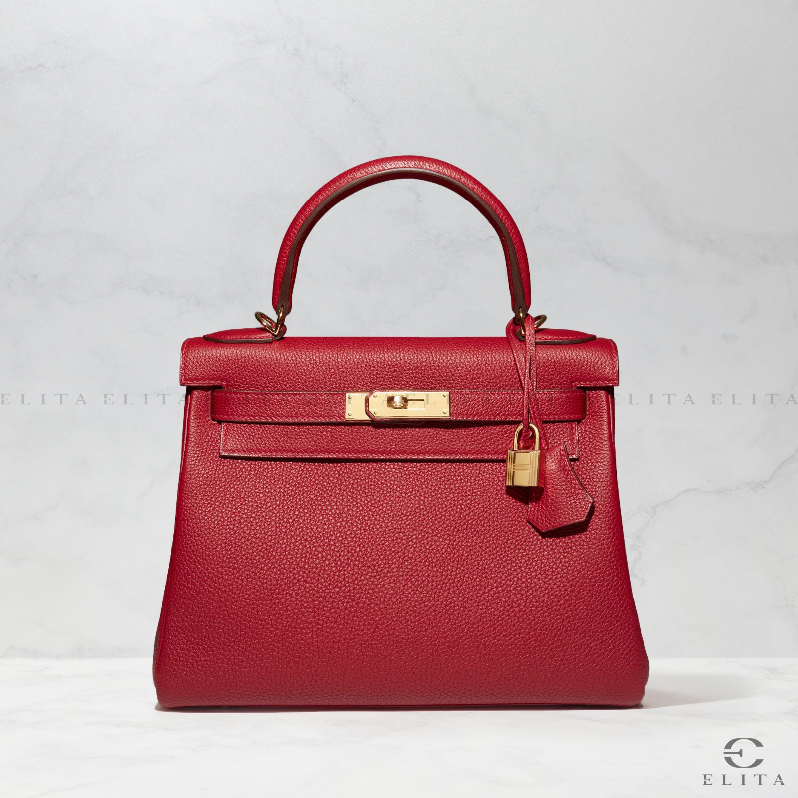 Kelly 28 Rouge Vif Togo Leather
