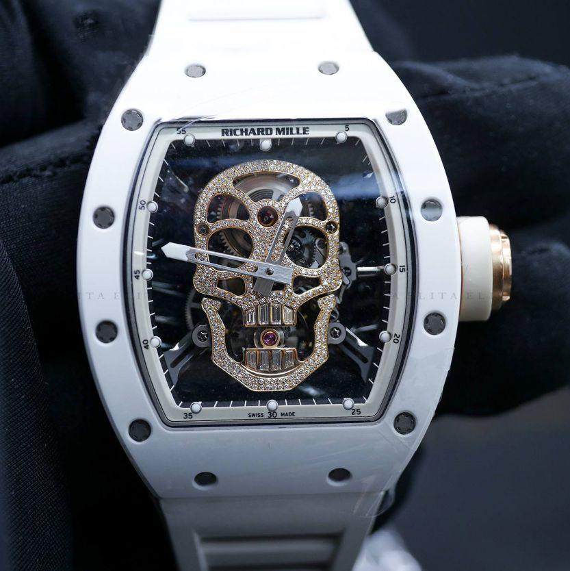 RM 52-01 White Ceramic and Rose Gold Skull