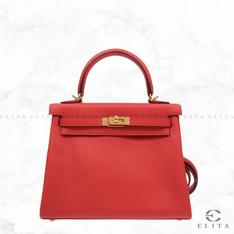 Kelly 25 Rouge Tomate S5 / Red Swift Leather