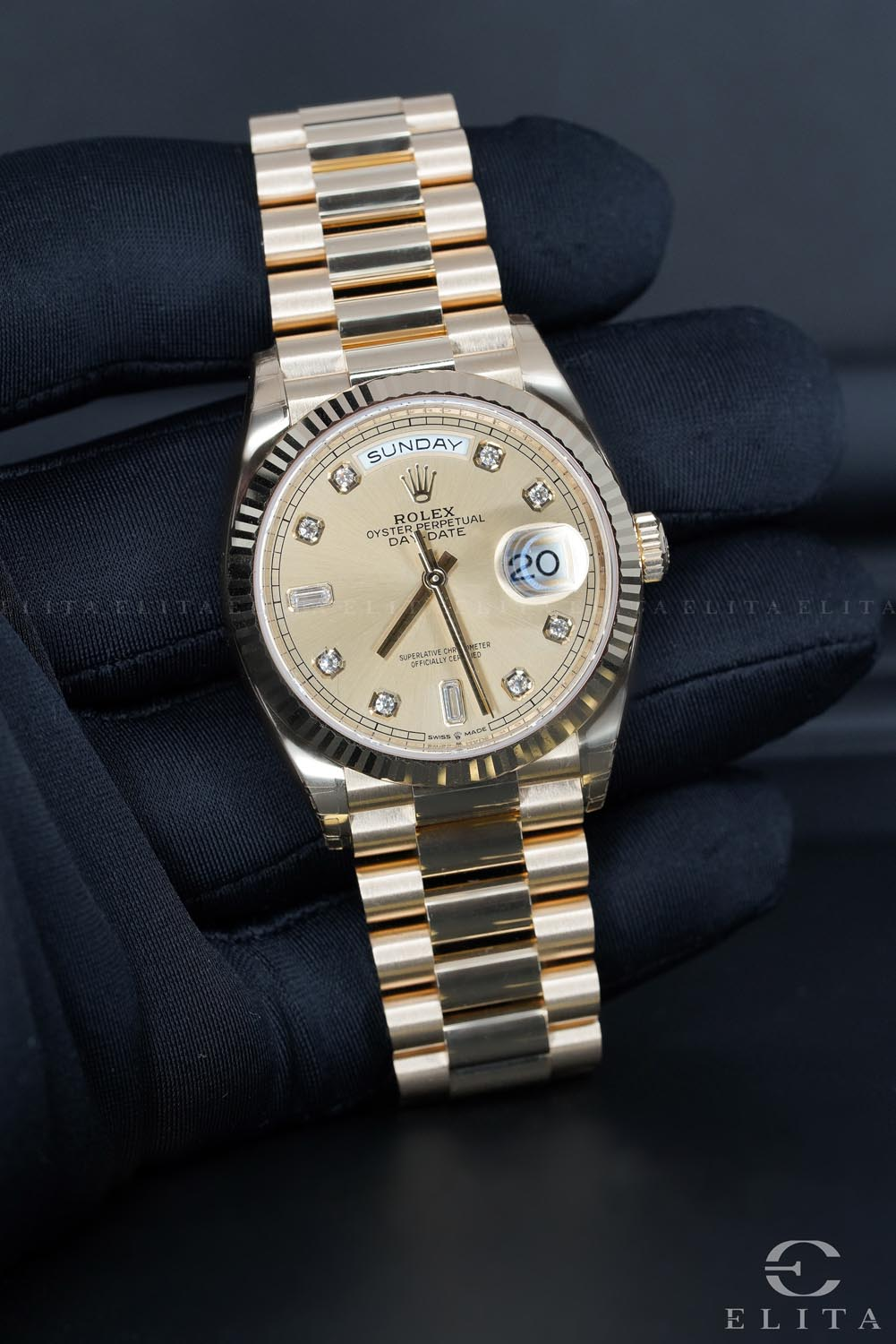 Day-Date 36 128238-0008 Champagne Diamond Dial
