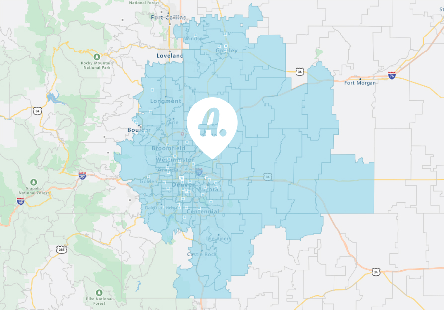 denver colorado map of assist coverage