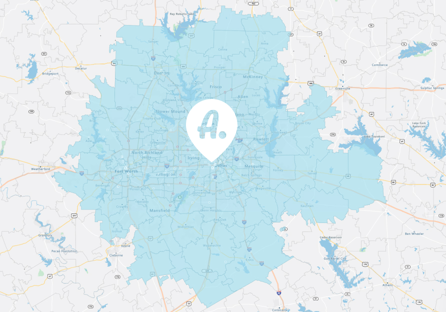 dallas fort worth texas map of assist coverage