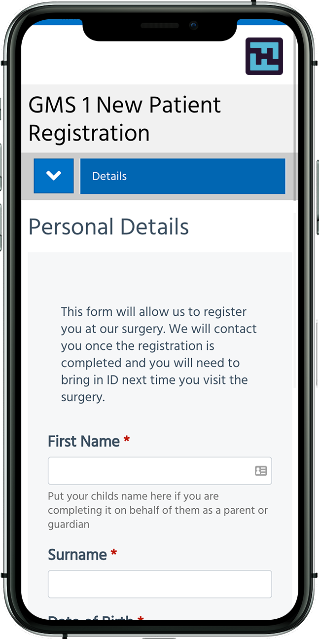 New GP patient registration form usingForms4Health