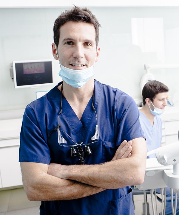 Portrait image of a male dentist