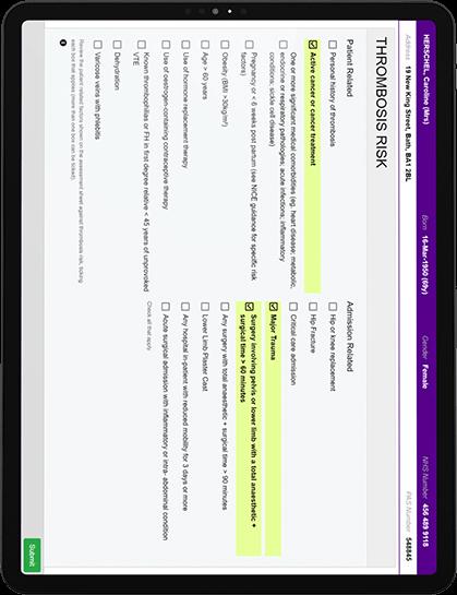 Thrombosis Risk Nursing Assessment form