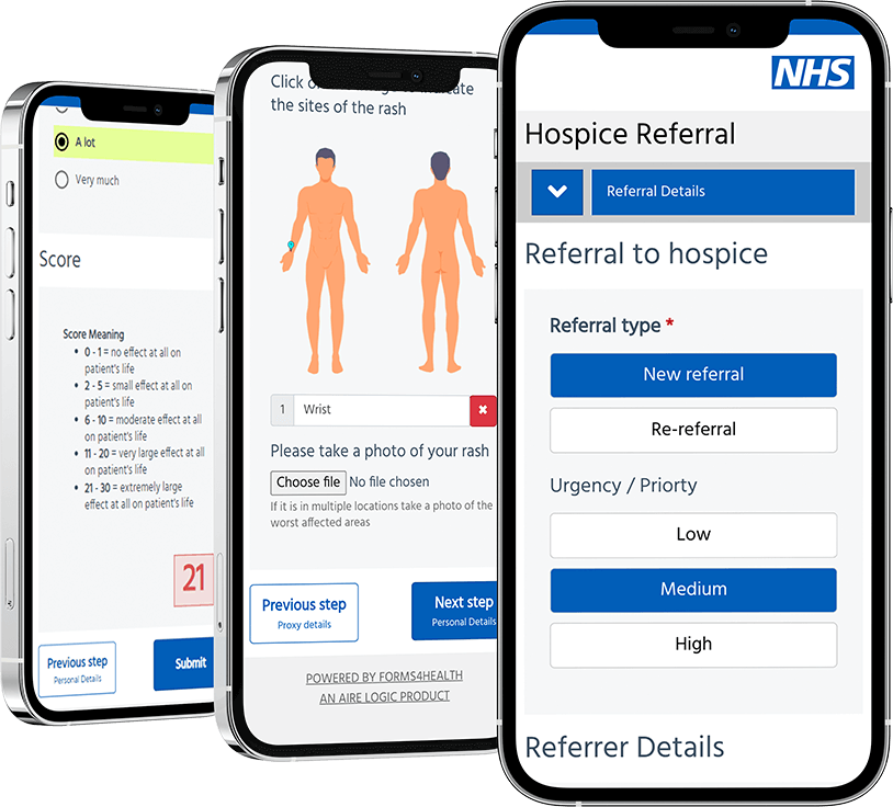Integrated Care System form images on iPhone