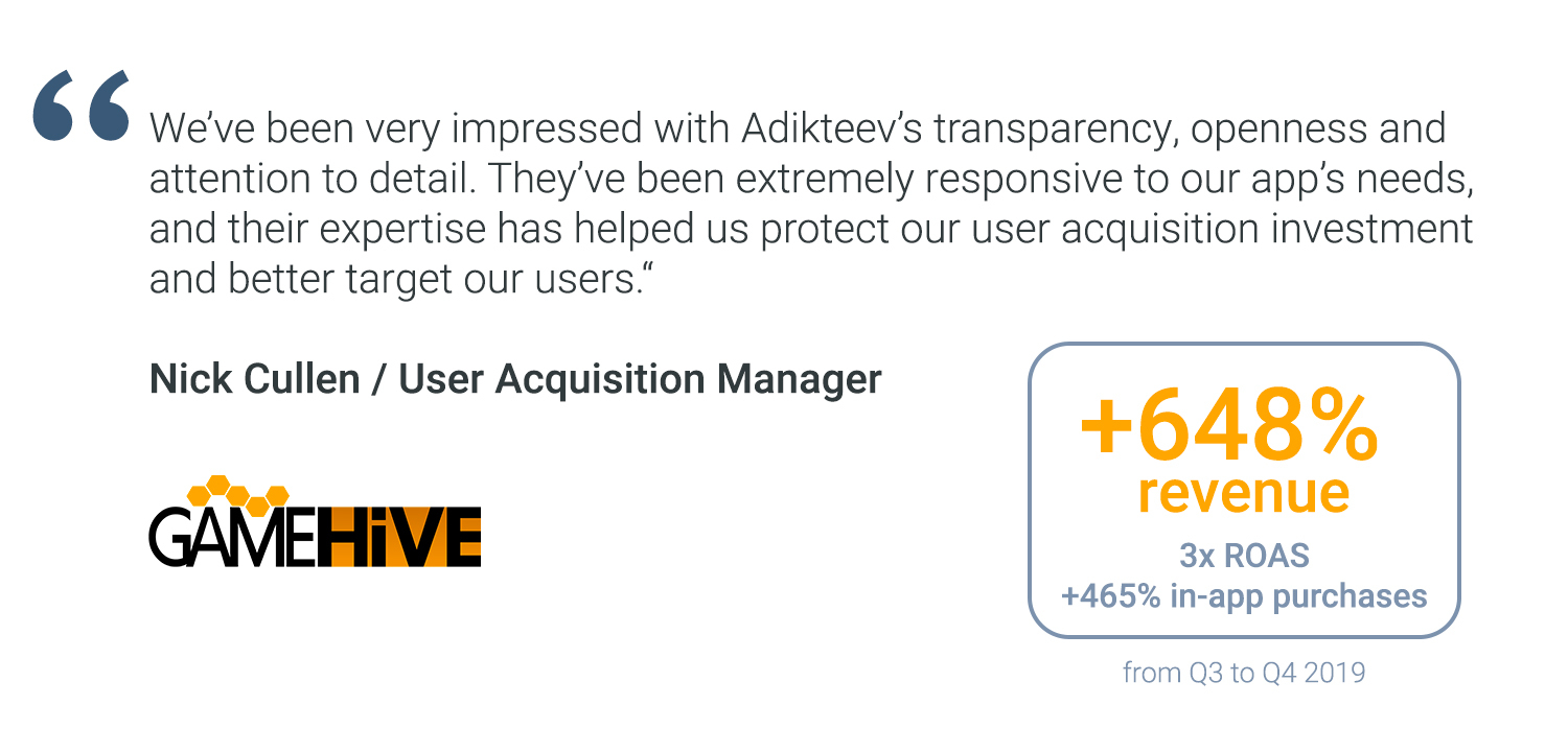 """We've been very impressed with Adikteev's transparency, openness and attention to detail. They've been extremely responsive to our app's needs, and their expertise has helped us protect our user acquisition investment and better target our users. "" Nick Cullen / User Acquisition Manager @Game Hive.+648% revenue from Q3 to Q4 2019, 3x ROAS from Q3 to Q4 2019, +465% in-app purchases from Q3 to Q4 2019"