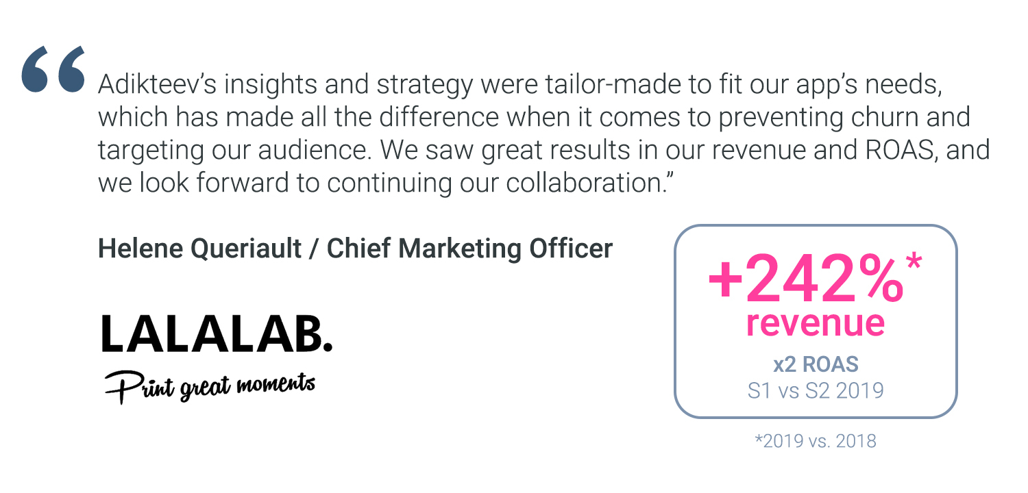 """Adikteev's insights and strategy were tailor-made to fit our app's needs, which has made all the difference when it comes to preventing churn and targeting our audience. We saw great results in our revenue and ROAS, and we look forward to continuing our collaboration."" Helene Queriault / Chief Marketing Officer @LALALAB. +242% revenue 2019 vs. 2018, x2 ROAS S1 vs. S2 2019"
