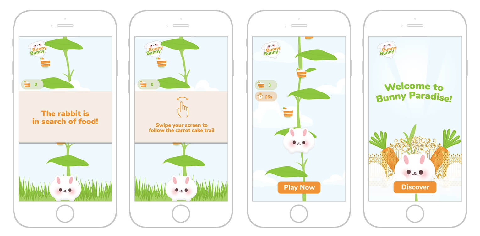 "Stills from the game Bunny Bunny. Still one: image of a small white rabbit in front of a bean stalk, text reads, ""The rabbit is in search of food!"" Still 2: Same image, text reads, ""Swipe your screen to follow the carrot cake trail."" Still 3: Shows the rabbit jumping up the bean stalk, following a trail of carrot cake slices. Still 4: Rabbit sits in front of a gold gate with two large carrots behind it on top of a cloud; text reads, ""Welcome to Bunny Paradise!"""