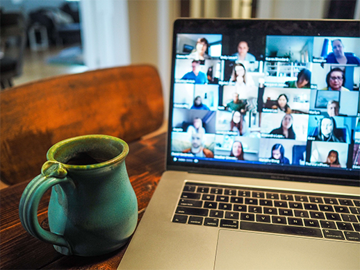 Video conferencing on a laptop at home
