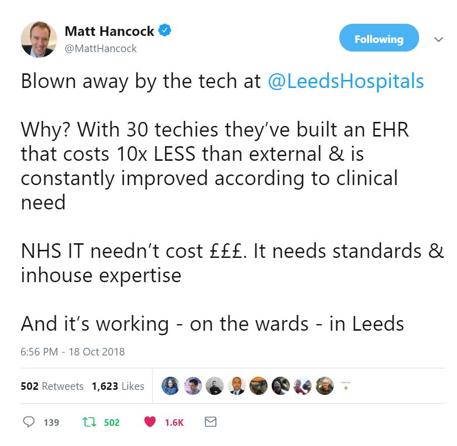 Matt Hancock - Tweets about the Tech at LTHT