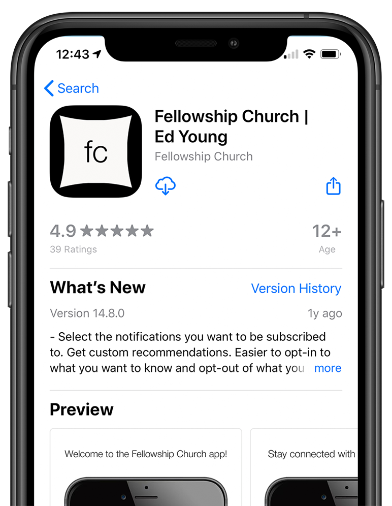 Phone showing how to download the fellowship church app on the apple app store