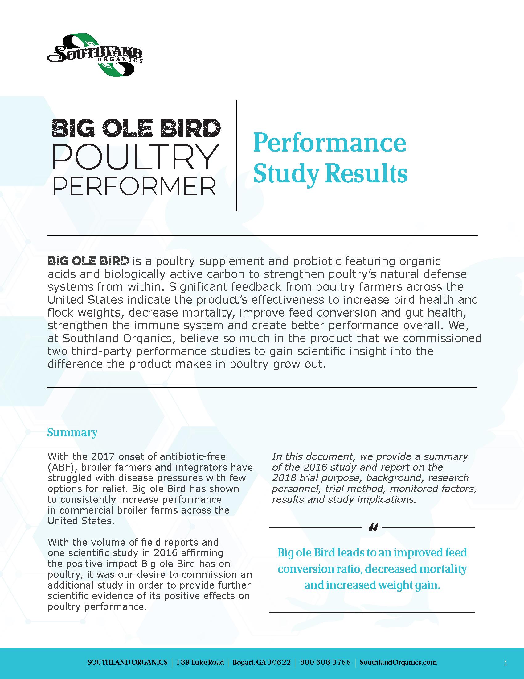 Increased Broiler Performance