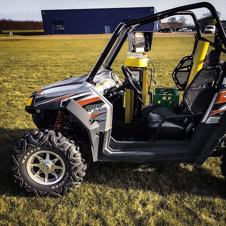 Wintex 1000 automatic soil sampler installed on a Polaris Ranger FZR