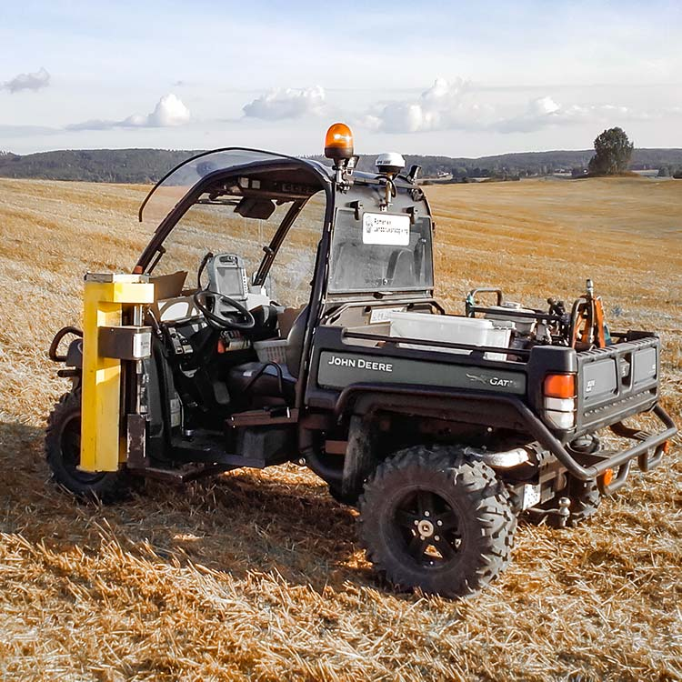 Wintex 1000 automatic soil sampler on a John Deere Gator