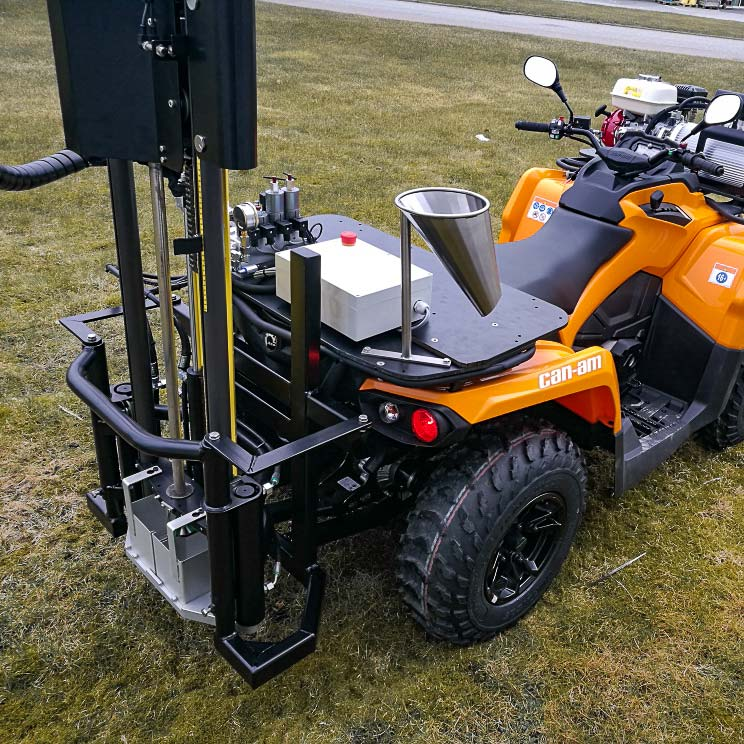 Wintex 2000 automatic soil sampler installed on a Can-Am ATV