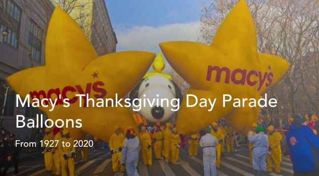 Macy's Parade Balloons Timeline
