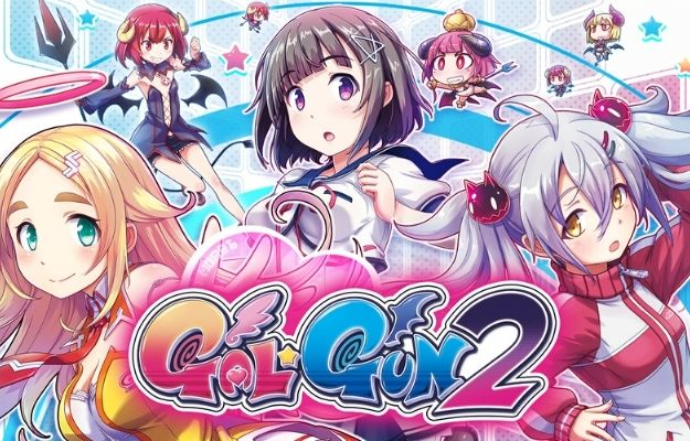 4 shy anime girl with the gal gun 2 game title in the middle of the graphic | *Gun*Gal 2* | 7 Best Ecchi Games on Nintendo Switch
