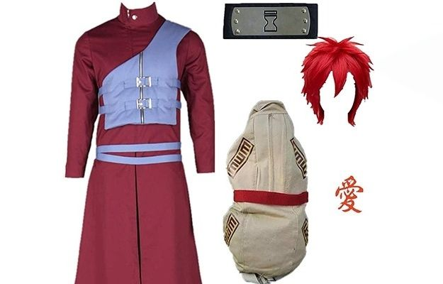 Gara character of Naruto full costume cosplay with cloth, head bang, hair, tattoo and bag | Make a List of Elements and Essential Materials | How to Create Your Own Cosplay Costume - A Beginners Guide